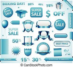 Blue price tags set