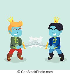 blue prince with sword fighting each other