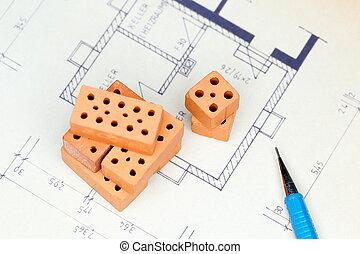 blue print and bricks