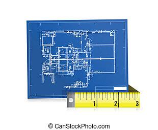 blue print and measure tape illustration design