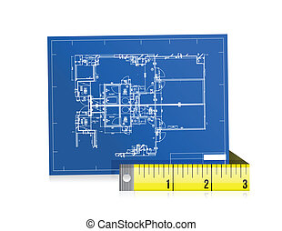 blue print and measure tape illustration design over white