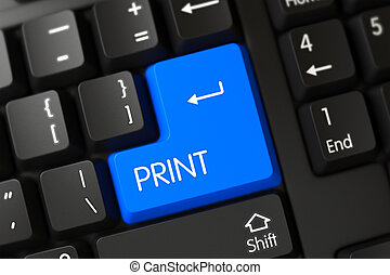 Blue Print Key on Keyboard. 3D.