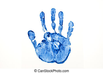 Blue print of hand