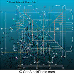 Blue print style drawing of a rafters house frame. Vector