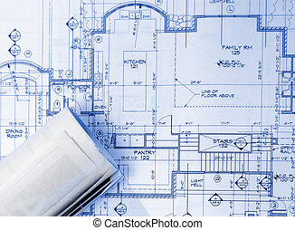 prints - blue prints on the table