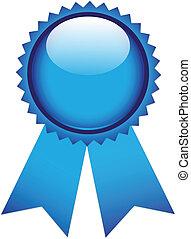 Blue prize ribbon on white