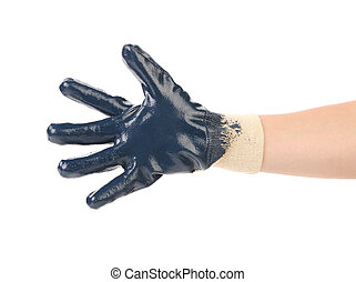 Blue protective glove. Isolated on a white background.