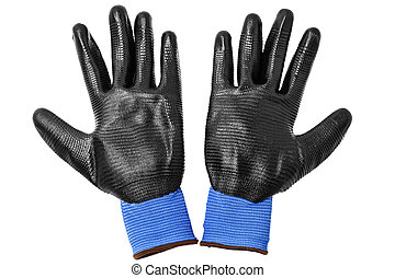 blue protective gloves, with black rubber