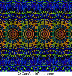 Blue psychedelic background. - Loony blob pic. Tribal art...