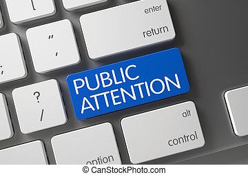 Blue Public Attention Keypad on Keyboard.