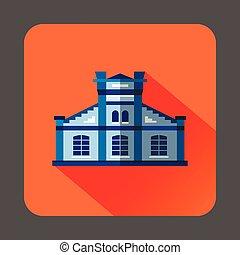 Blue public building icon, flat style