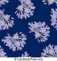 Blue Purple Agapanthus on Indigo Blue Background