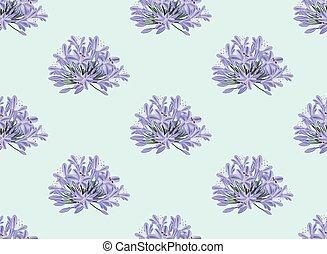 Blue Purple Agapanthus on Light Blue Background