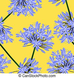 Blue Purple Agapanthus on Yellow Background. Vector Illustration