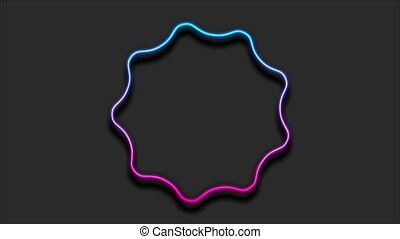 Blue purple curved wavy circle abstract neon video animation