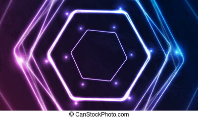 Blue purple glowing neon hexagons abstract motion background