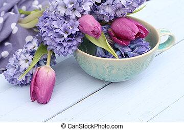Blue, purple hyacinth and pink tuli
