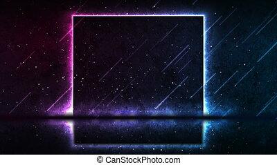 Blue purple neon laser square frame technology grunge motion background