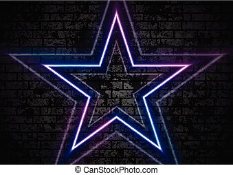 Blue purple neon stars on grunge brick wall background