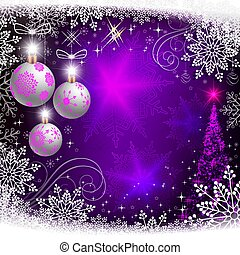 Blue, purple postcard with glitter and white balls and an abstract Christmas tree.