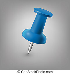 Blue push pin isolated, vector. - Blue push pin isolated...