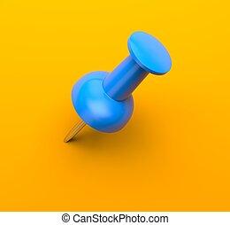 Blue push pin on orange background