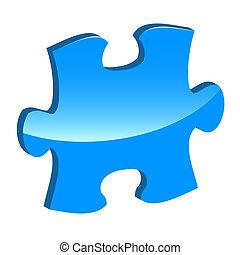 Blue puzzle 3d pie icon
