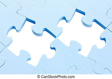 puzzle background with two missing pieces