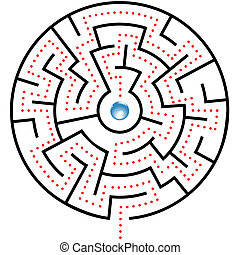 Blue Puzzle Ball in red dot path so - A shiny blue ball in...