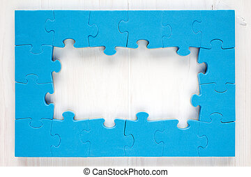 Blue puzzle frame