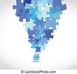 blue puzzle pieces illustration design