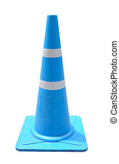 Blue Pylon traffic-cone on white background with clipping path.