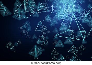 Blue pyramid background