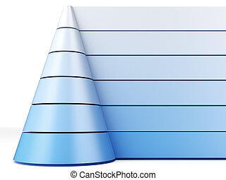 Blue pyramid chart isolated on a white background