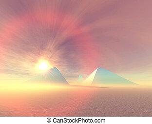BLUE PYRAMIDS - Fantasy desert landscape of pyramids.