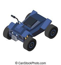 Blue quad bike icon, isometric style