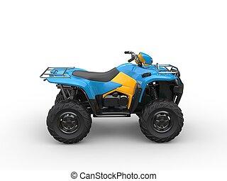 Blue quad bike - side view