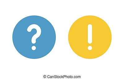 blue question mark and yellow exclamation point, round vector signs