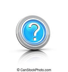Blue question mark button. Vector illustration.