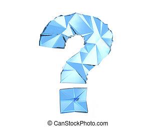 Blue question mark polygonal design