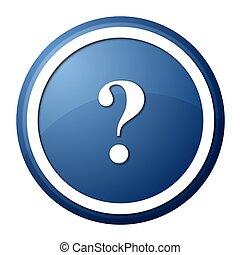 blue question mark round button