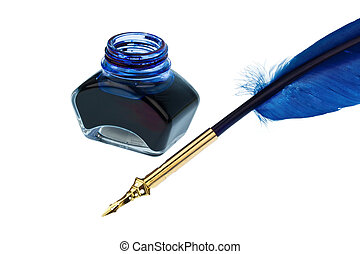 blue quill - a blue feather pen with an ink bottle on white...
