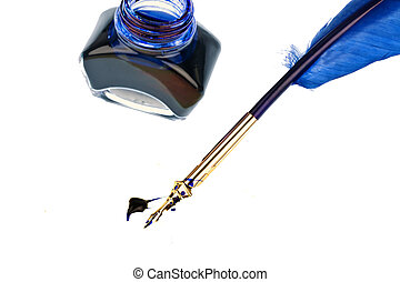 blue quill - a blue pen with an ink bottle on white...