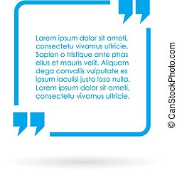 Blue quote text box on white background