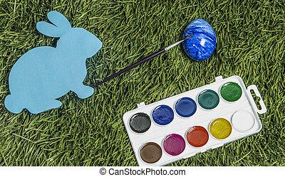 blue., ręka, to jest, królik, karta, malarstwo, jajko, pędzel