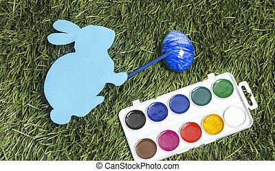 blue., ręka, to jest, królik, markier, malarstwo, jajko, karta