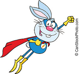 Blue Rabbit Superhero Flying
