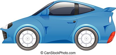Blue racing car on white background
