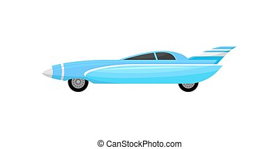 Blue racing car with silver stripes. Vintage sports automobile. Vehicle with tinted windows and spoiler. Flat vector design