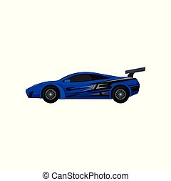 Blue racing car with tinted windows and spoiler. Road vehicle. Fast sports automobile. Flat vector element for mobile game